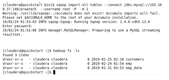 Hadoop sqoop Functions