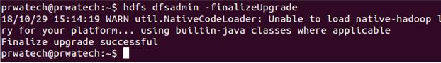 Hadoop cluster upgrade - finalize upgrade
