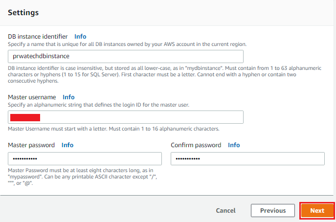 Creating Amazon RDS DB Instance