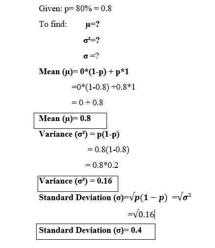 Mean and variance of Bernoulli distribution example with formula