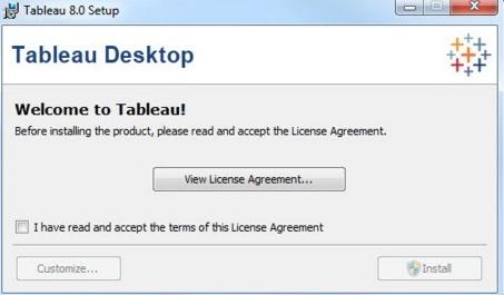 Tableau Server Installation Steps - Licence agreement