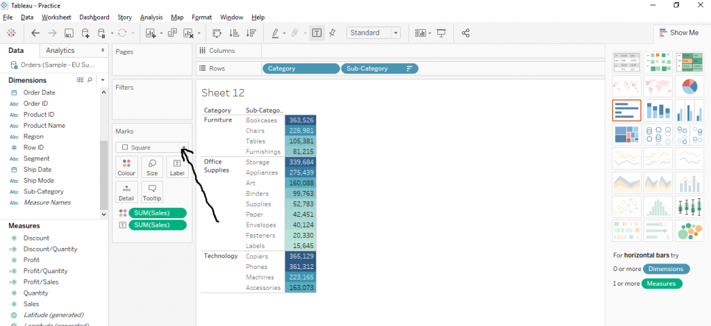 Draw Text Table in Tableau