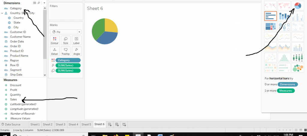 How to make a Pie Chart in Tableau
