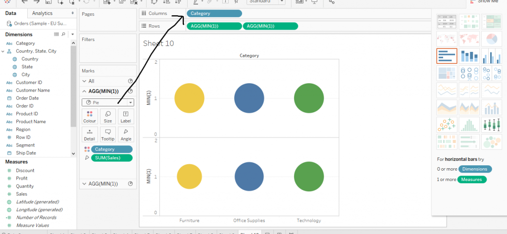 How to make a lollipop Pie Chart in Tableau