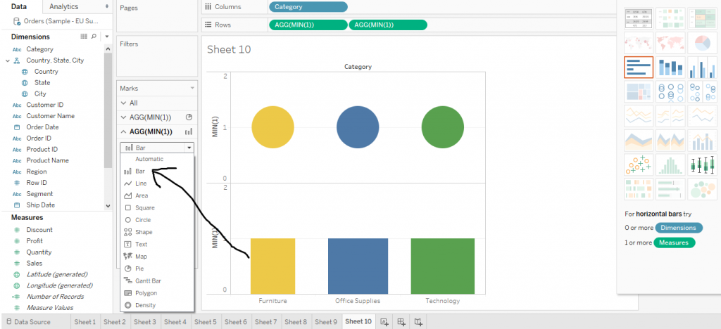 How to make a lollipop Chart in Tableau