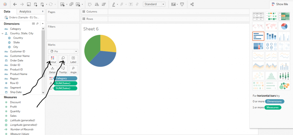 Pie Chart in Tableau